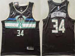 Mens 2021 Nba Milwaukee Bucks #34 Giannis Antetokounmpo Black Jordan Jersey