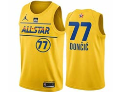 Mens 2021 All Star Nba Dallas Mavericks #77 Luka Doncic Yellow Kia Patch Jordan Brand Jersey