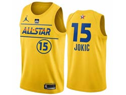 Mens 2021 All Star Nba Denver Nuggets #15 Nikola Jokic Yellow Kia Patch Jordan Brand Jersey