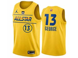 Mens 2021 All Star Nba Los Angeles Clippers #13 Paul George Yellow Kia Patch Jordan Brand Jersey