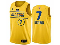 Mens 2021 All Star Nba Boston Celtics #7 Jaylen Brown Yellow Kia Patch Jordan Brand Jersey