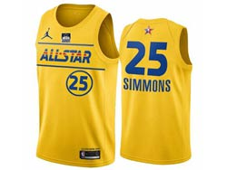 Mens 2021 All Star Nba Philadelphia 76ers #25 Ben Simmons Yellow Kia Patch Jordan Brand Jersey