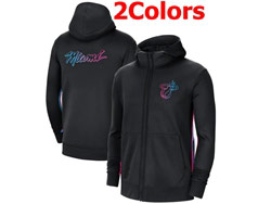Mens Nba Miami Heat Nike Training Clothes Zip Hoodie Jacket With Pocket 2 Colors