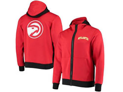 Mens Nba Atlanta Hawks Red Nike Training Clothes Zip Hoodie Jacket With Pocket