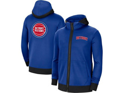 Mens Nba Detroit Pistons Blue Nike Training Clothes Zip Hoodie Jacket With Pocket