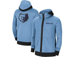 Mens Nba Memphis Grizzlies Blue Nike Training Clothes Zip Hoodie Jacket With Pocket