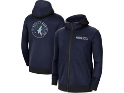 Mens Nba Minnesota Timberwolves Blue Nike Training Clothes Zip Hoodie Jacket With Pocket
