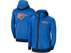 Mens Nba Oklahoma City Thunder Blue Nike Training Clothes Zip Hoodie Jacket With Pocket