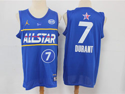 Mens 2021 All Star Nba Brooklyn Nets #7 Kevin Durant Blue Kia Patch Jordan Brand Jersey