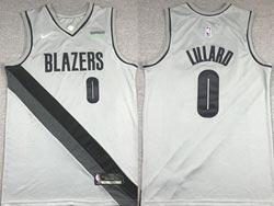 Mens 2021 Nba Portland Trail Blazers #0 Damian Lillard Gray Earned Edition Nike Swingman Jersey
