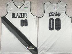 Mens 2021 Nba Portland Trail Blazers #00 Carmelo Anthony Gray Earned Edition Nike Swingman Jersey