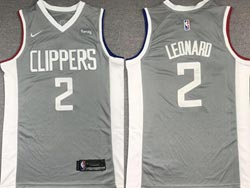 Mens 2021 Nba Los Angeles Clippers #2 Kawhi Leonard Gray Earned Edition Nike Swingman Jersey