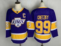 Mens Nhl Los Angeles Kings #99 Wayne Gretzky Purple 2021 Reverse Retro Alternate Adidas Jersey With C Patch