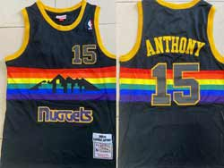 Mens Nba Denver Nuggets #15 Carmelo Anthony Black 2003-04 Mitchell&ness Hardwood Classics Mesh Jersey