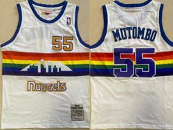 Mens Nba Denver Nuggets #55 Dikembe Mutombo White 1991-92 Mitchell&ness Hardwood Classics Mesh Jersey