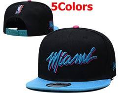 Mens Nba Miami Heat Flat Snapback Adjustable Hats 5 Colors