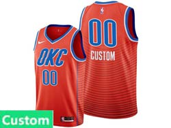 Mens Womens Youth Nba Oklahoma City Thunder Custom Made Orange Statement Edition Nike Swingman Jersey