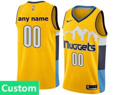 Mens Nba Denver Nuggets Custom Made Yellow Nike Swingman Jersey