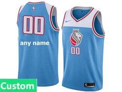 Mens Nba Sacramento Kings Custom Made Nike 2018 Light Blue City Edition Swingman Nike Jersey