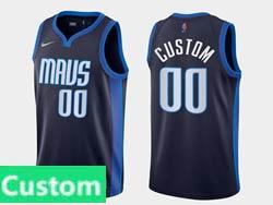 Mens Womens Youth 2021 Nba Dallas Mavericks Custom Made Navy Earned Edition Nike Swingman Jersey