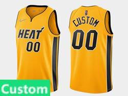 Mens Womens Youth 2020-21 Nba Miami Heat Custom Made Yellow Earned Edition Nike Swingman Jersey