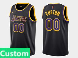 Mens Womens Youth 2021 Nba Los Angeles Lakers Custom Made Black Earned Edition Nike Swingman Jersey