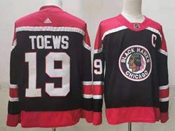 Mens Nhl Chicago Blackhawks #19 Jonathan Toews Black 2021 Reverse Retro Alternate Adidas Jersey