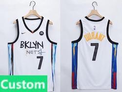 Mens Women Youth 2021 Nba Brooklyn Nets Custom Made White Motorola Logo City Edition Nike Swingman Jersey