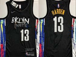Mens Nba Brooklyn Nets #13 James Harden Black Graffiti Edition Nike Swingman Jersey