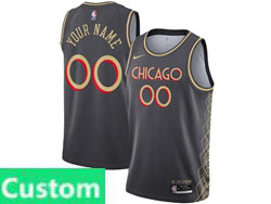 Mens Women Youth 2021 Nba Chicago Bulls Custom Made Black City Edition Nike Swingman Jersey