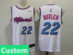 Mens Nba Miami Heat Custom Made White Nike Vice Uniform City Edition Swingman Jersey