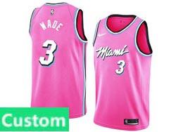 Mens Womens Youth Nba Miami Heat Custom Made Pink Earned Edition Nike Swingman Jersey