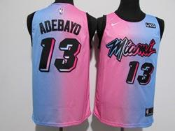 Mens 2020-21 Nba Miami Heat #13 Bam Adebayo Pink/blue Swingman Nike Jersey