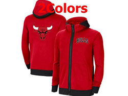 Mens Nba Chicago Bulls Nike Training Clothes Zip Hoodie Jacket With Pocket 2 Colors