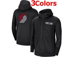 Mens Nba Portland Trail Blazers Nike Training Clothes Zip Hoodie Jacket With Pocket 3 Colors