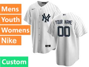 Mens Womens Youth Mlb New York Yankees Custom Made White Cool Base Nike 2020 Home Jersey