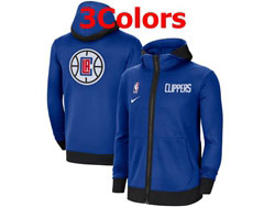 Mens Nba Los Angeles Clippers Nike Training Clothes Zip Hoodie Jacket With Pocket 3 Colors