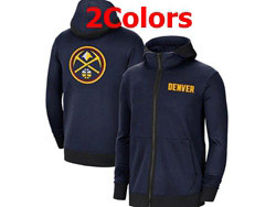 Mens Nba Denver Nuggets Nike Training Clothes Zip Hoodie Jacket With Pocket 2 Colors