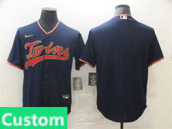 Mens Womens Youth Mlb Minnesota Twins Custom Made Dark Blue Cool Base Nike Jersey