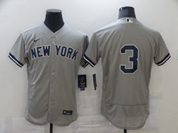 Mens Mlb New York Yankees #3 Babe Ruth Gray Flex Base Nike Jersey No Name