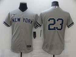Mens Mlb New York Yankees #23 Don Mattingly Gray Flex Base Nike Jersey No Name