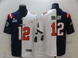 Mens New England Patriots #12 Tom Brady Blue&white Split Peaceful Vapor Untouchable Limited Jersey