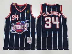 Mens Nba Houston Rockets #34 Hakeem Olajuwon Dark Blue Stripe 93-94 Mitchell&ness Hardwood Classics Mesh Jersesy