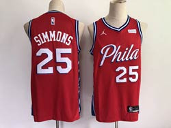 Mens Nba Philadelphia 76ers #25 Ben Simmons 2021 Red Jordan Brand Swingman Jersey