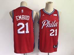 Mens Nba Philadelphia 76ers #21 Joel Embiid 2021 Red Jordan Brand Swingman Jersey