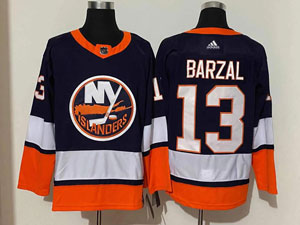 Mens Nhl New York Islanders #13 Mathew Barzal Blue 2021 Reverse Retro Alternate Adidas Jersey