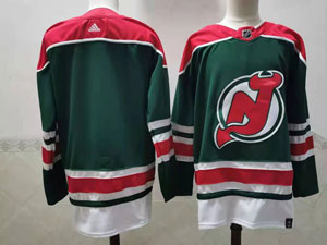 Mens Nhl New Jersey Devils Blank Green 2021 Reverse Retro Alternate Adidas Jersey