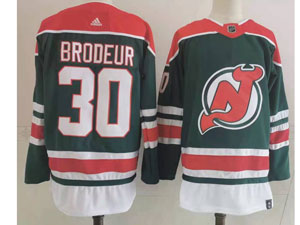 Mens Nhl New Jersey Devils #30 Martin Brodeur Green 2021 Reverse Retro Alternate Adidas Jersey