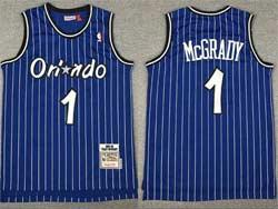 Mens Nba Orlando Magic #1 Tracy Mcgrady Blue White Stripe Hardwood Classics Swingman Jersey