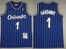 Mens Nba Orlando Magic #1 Anfernee Hardaway Blue White Stripe Hardwood Classics Swingman Jersey